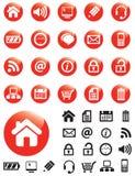 Iconos de los media en los botones rojos fotos de archivo