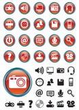Iconos de los media en los botones rojos foto de archivo