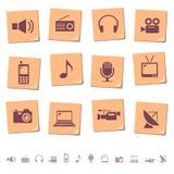 Iconos de los media en notas de la nota Imágenes de archivo libres de regalías