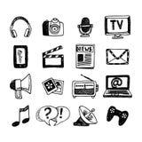 Iconos de los media fijados Fotografía de archivo