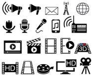 Iconos de los media y de la película fijados Fotografía de archivo
