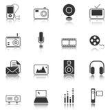 Iconos de los medios de comunicación - serie blanca stock de ilustración