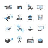 Iconos de los medios y de las noticias fijados Imagenes de archivo