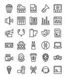 Iconos de los medios y del entretenimiento fijados ilustración del vector