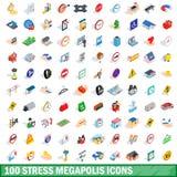 100 iconos de los megapolis de la tensión fijaron, el estilo isométrico 3d
