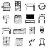 Iconos de los muebles ilustración del vector