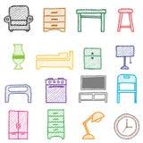 Iconos de los muebles del gráfico de la mano stock de ilustración
