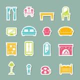 Iconos de los muebles fijados stock de ilustración