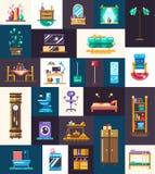 Iconos de los muebles nacionales planos modernos del diseño y sistema de elementos interiores Imagenes de archivo