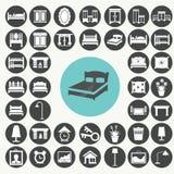 Iconos de los muebles y de los accesorios del dormitorio fijados Imagenes de archivo