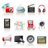 Iconos de los multimedia Fotografía de archivo libre de regalías