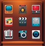 Iconos de los multimedia Imagen de archivo libre de regalías