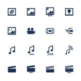 Iconos de los multimedia Fotografía de archivo