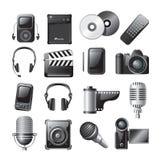 Iconos de los multimedia ilustración del vector