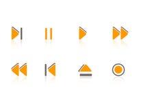 Iconos de los multimedia/de la música fijados Foto de archivo libre de regalías