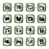 Iconos de los multimedia fijados Imagen de archivo