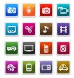 Iconos de los multimedia - serie de la etiqueta engomada ilustración del vector