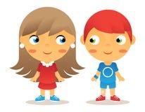 Iconos de los niños del personaje de dibujos animados de la muchacha y del muchacho stock de ilustración