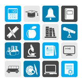 Iconos de los objetos de la educación y de la escuela de la silueta Foto de archivo libre de regalías