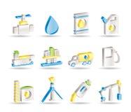 Iconos de los objetos de la industria del petróleo y de la gasolina Fotografía de archivo libre de regalías