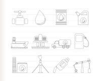 Iconos de los objetos de la industria del petróleo y de la gasolina Imagen de archivo libre de regalías