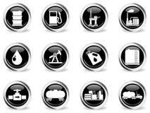 Iconos de los objetos de la industria del petróleo y de la gasolina Foto de archivo libre de regalías