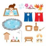 Iconos de los objetos de las aguas termales fijados Foto de archivo