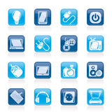 Iconos de los objetos de los dispositivos electrónicos Fotografía de archivo