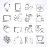 Iconos de los objetos de los dispositivos electrónicos Fotografía de archivo libre de regalías