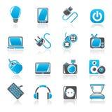 Iconos de los objetos de los dispositivos electrónicos Imagenes de archivo