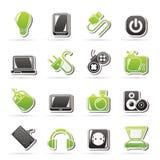 Iconos de los objetos de los dispositivos electrónicos Foto de archivo libre de regalías
