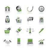 Iconos de los objetos del asunto y de la oficina Foto de archivo libre de regalías