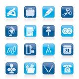 Iconos de los objetos del asunto y de la oficina Fotografía de archivo libre de regalías