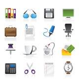 Iconos de los objetos del asunto y de la oficina Foto de archivo