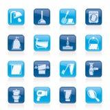 Iconos de los objetos del cuarto de baño y de la higiene Fotos de archivo libres de regalías