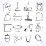 Iconos de los objetos del cuarto de baño y de la higiene Foto de archivo