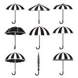 Iconos de los objetos del paraguas fijados, monocromático Foto de archivo libre de regalías