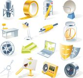 Iconos de los objetos del vector fijados. Parte 11 Fotografía de archivo libre de regalías