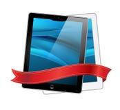 Iconos de los ordenadores de la tablilla y cinta roja Imagen de archivo
