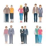 Iconos de los pares de la familia planos ilustración del vector