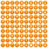 100 iconos de los partidos de los niños fijados anaranjados ilustración del vector
