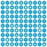100 iconos de los partidos de los niños fijados azules ilustración del vector