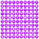 100 iconos de los partidos de los niños fijados púrpuras stock de ilustración