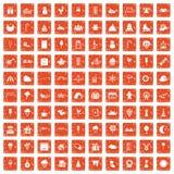 100 iconos de los partidos de los niños fijaron grunge anaranjado libre illustration