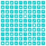 100 iconos de los partidos de los niños fijaron grunge azul ilustración del vector