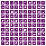 100 iconos de los partidos de los niños fijaron grunge púrpura stock de ilustración