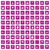 100 iconos de los partidos de los niños fijaron rosa del grunge libre illustration