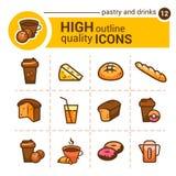 Iconos de los pasteles y de las bebidas Fotografía de archivo