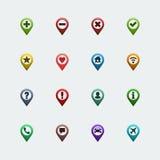 Iconos de los pernos del mapa de color del vector fijados Fotografía de archivo libre de regalías