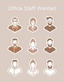 Iconos de los personales de la oficina Foto de archivo libre de regalías